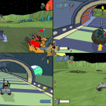 The players spread out in the large crater of Lunarcy, during this 4-player split screen, Flag Rally match.