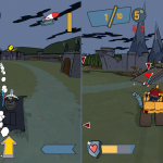 Count Earl uses his Seeking Missile while B.T. Bruno races for a flag while avoiding Sinder's Chainsaw in this 2-player split screen, Flag Rally match in Count's Castle.