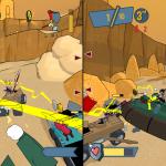 Lightning gun mayhem in this 2-player split screen, Smack Attack match in Death Valley