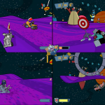 Dominique drifts back to the planet's rings where the others in this 4-player split screen, Smack Attack match are battling, in Shooting Stars